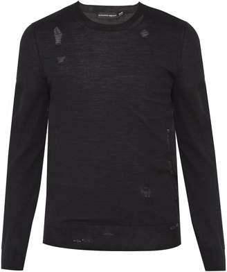 Alexander McQueen Distressed wool-blend fine-knit sweater