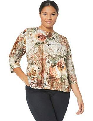 Alfred Dunner Women's Size Plus Floral Top with Printed Lace Yoke
