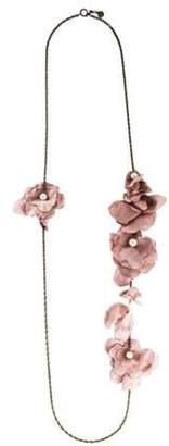 Lanvin Silk & Faux Pearl Flower Necklace Gold Silk & Faux Pearl Flower Necklace