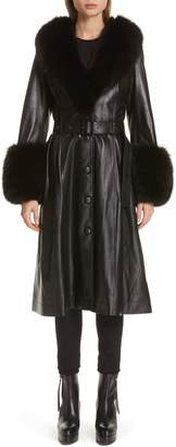 Saks Potts Foxy Leather Coat with Genuine Fox Fur Trim