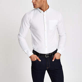 River Island White muscle fit long sleeve Oxford shirt