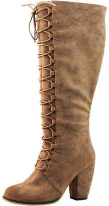 Michael Antonio Womens Mae Combat Boots Stacked Heel Zip