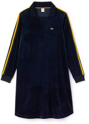 Lacoste Women's LIVE Piped Velour Flared Polo Dress
