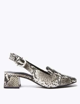 Marks and Spencer Snake Print Block Heel Slingback Loafers