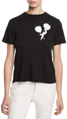 Oscar de la Renta Tulip-Embroidered Tieback Crewneck Short-Sleeve Cotton Tee