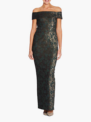 Adrianna Papell Off Shoulder Jacquard Dress, Hunter Green/Gold