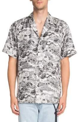 Off-White Hawaiian-Print Short-Sleeve Silk Sport Shirt