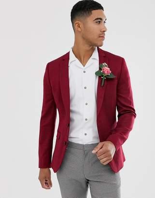 Design DESIGN wedding super skinny wool mix blazer in burgundy