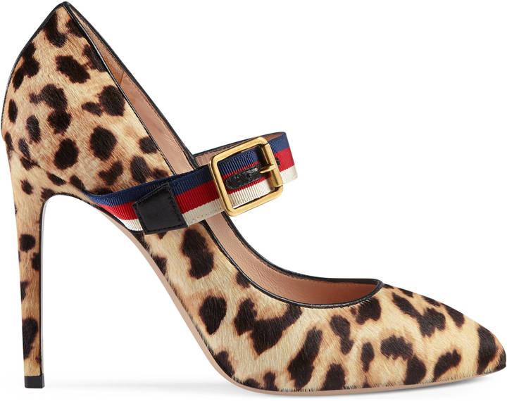 Sylvie leopard print calf hair pump