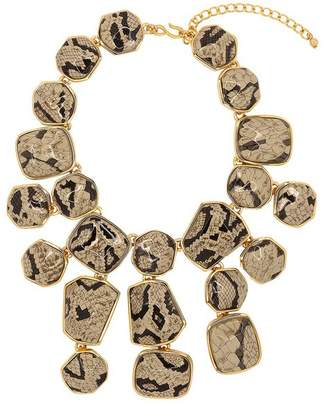Kenneth Jay Lane Snake Skin Print Bib Necklace