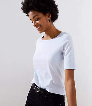 LOFT Elbow Sleeve Shirttail Tee