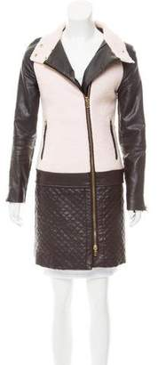 Walter Baker Leather-Accented Knee-Length Coat