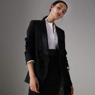 Burberry Silk Satin Detail Wool Tailored Jacket