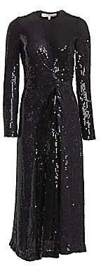 Galvan Women's Sequined Pinwheel A-Line Midi Gown