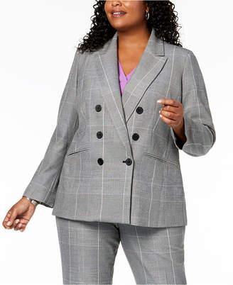 Nine West Plus Size Plaid Double-Breasted Jacket