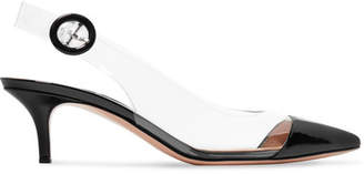 Gianvito Rossi 55 Patent-leather And Pvc Slingback Pumps - Black