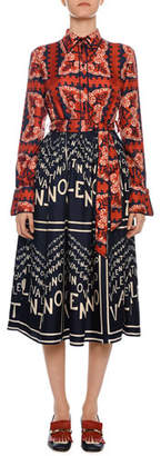 Valentino Long-Sleeve Bandana Silk Twill Tie-Waist Dress