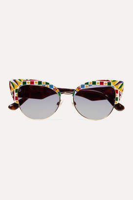 Dolce & Gabbana Cat-eye Printed Acetate And Gold-tone Sunglasses - Blue