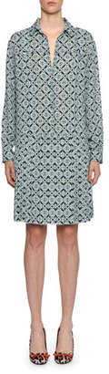 Bottega Veneta Geometric-Print Silk Drop-Waist Dress