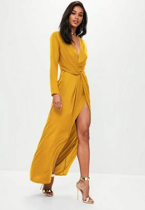 Missguided Mustard Yellow Wrap Front Maxi Dress
