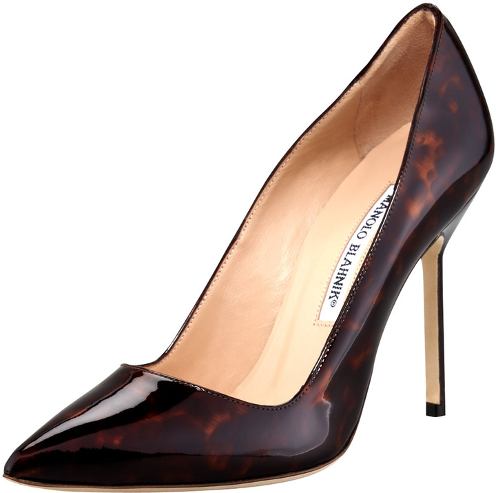 Manolo Blahnik Tortoise Patent Leather Pump