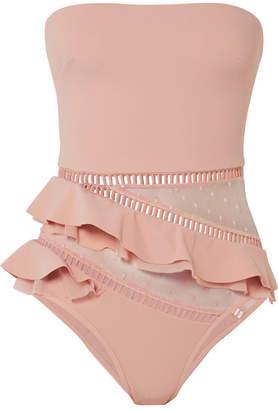 Zimmermann Bayou Ruffled Bandeau Swimsuit - Pastel pink