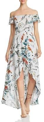 Elan International Off-the-Shoulder High/Low Maxi Dress