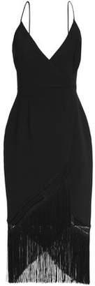 Nicholas Wrap-Effect Fringed Crepe Midi Dress