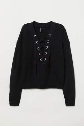 H&M Knit Sweater with Lacing - Black