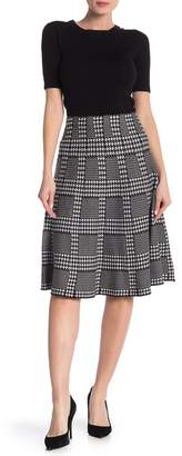 Lauren Hansen Houndstooth Plaid Knit Flared Skirt