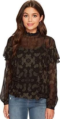Lucky Brand Women's High Neck Ruffle Blouse in Black Multi