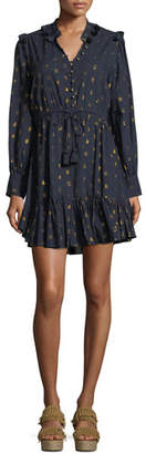 Figue Emma Long-Sleeve Drawstring-Waist Metallic-Dot Mini Cocktail Dress