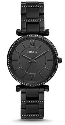 Fossil Carlie Three-Hand Black Stainless Steel Watch