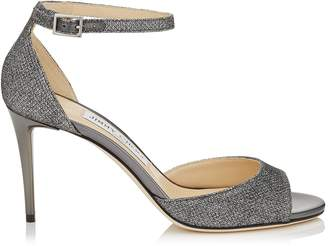 f619b2f94c78 Jimmy Choo ANNIE 85 Anthracite Lame Glitter Fabric Peep Toe Sandals