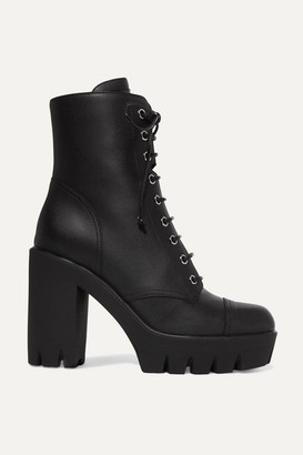 Giuseppe Zanotti Leather Platform Ankle Boots - Black