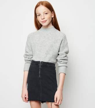 New Look Girls Ring Zip Denim Tube Skirt
