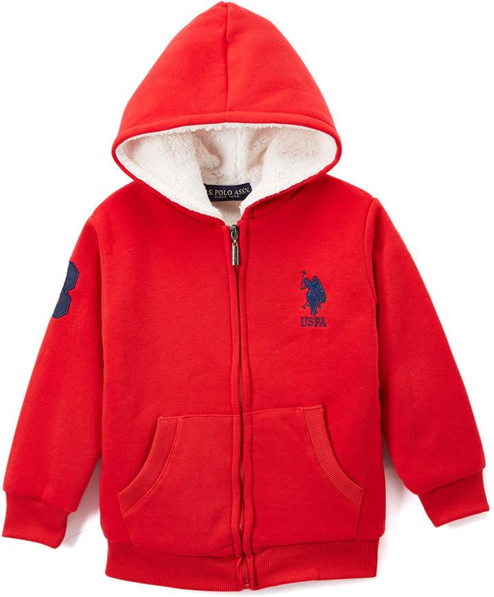 Red Sherpa-Lined Fleece Zip-Up Hoodie - Boys
