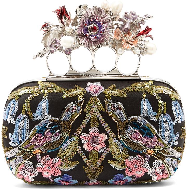 Alexander McQueenALEXANDER MCQUEEN Flower-embellished satin knuckle clutch