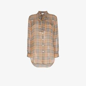 Burberry Vintage Check pussy-bow silk blouse