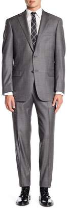 Hart Schaffner Marx Gray Woven Notch Lapel Wool New York Fit Suit