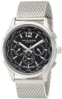 "Akribos XXIV Men's AK716SSB ""Explorer"" Stainless Steel Swiss Multifunction Watch With Mesh Bracelet"