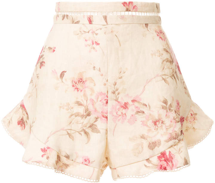 Zimmermann high-waisted floral shorts