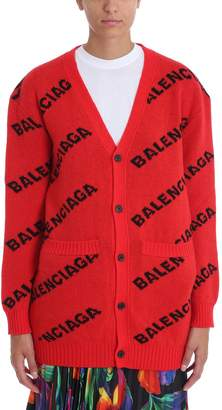Balenciaga Red Wool Cardigan