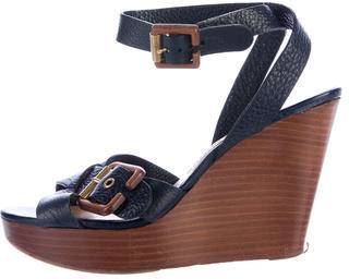 Chloé  Chloé Leather Wedge Sandals