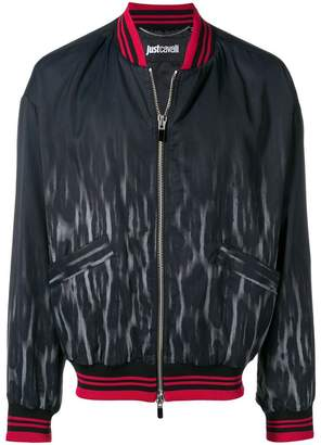 Just Cavalli faded leopard bomber jacket