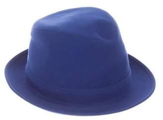Hermes Seersucker Fedora Hat