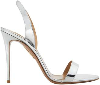 Aquazzura So Nude Silver Leather Slingback Sandals