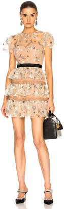 Self-Portrait Star Mesh Tiered Dress