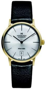 Hamilton American Classic Intra-Matic Auto Goldtone Stainless Steel& Leather Strap Watch