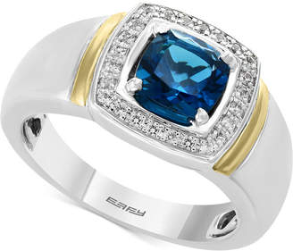 Effy Men London Blue Topaz (1-5/8) & Diamond (1/6 ct. t.w.) Ring in Sterling Silver and 14k Gold